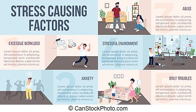Stress causing factors flat color vector informational infographic template