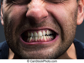 Stress - Closeup of mouth of very stressed man