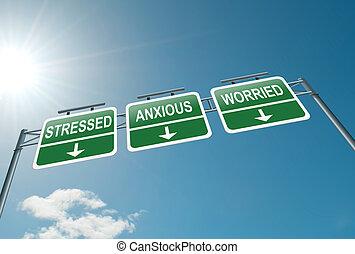 Stress concept. - Illustration depicting a highway gantry...
