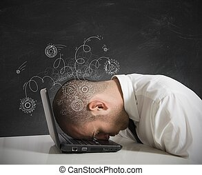 Stress concept - Concept of stress with businessman sleeping...