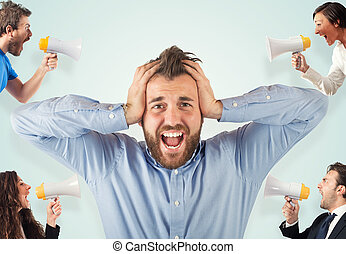 Stress concept with screaming colleagues - Stress concept...