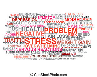 stress, concept, woord, wolk, symptoms.