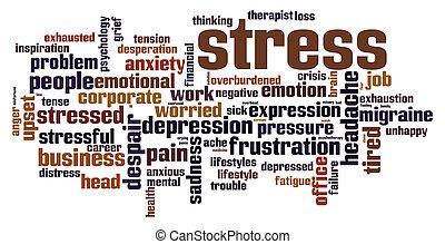 stress, concept, woord, wolk