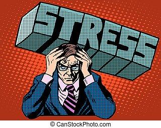 stress, concetto, severità, affari, problemi, uomo affari