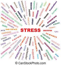 stress contributory factors, causes, symptoms, effects, conceptual illustration.