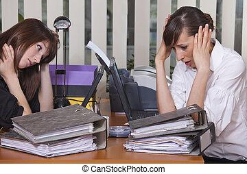 stress, door, de, werken