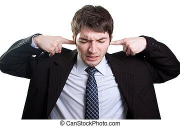 stress, en, lawaai, concept