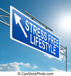 Stress free lifestyle. - Illustration depicting a highway...
