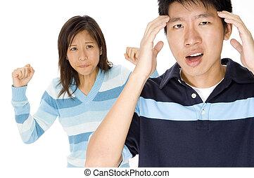 Stress Headache - A man has a headache from relationship...