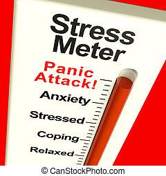 stress, het tonen, meter, aanval, paniek, of, zich zorgen...