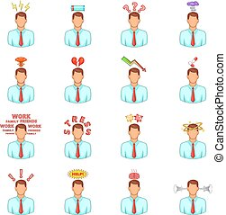 Stress icons set, cartoon style