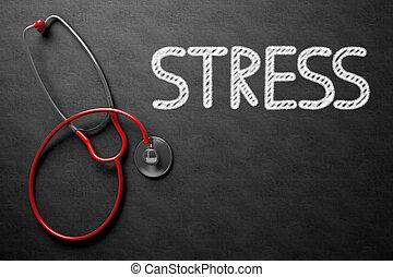 stress, illustration., testo, -, chalkboard., 3d
