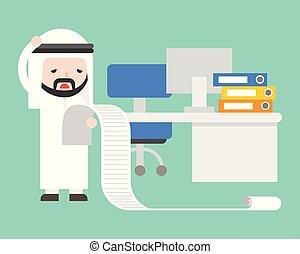 stress, kantoor, omgooien, lijst, lang, arabier, zakenman, lezende