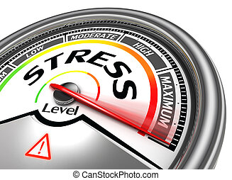 stress level conceptual meter indicating maximum, isolated ...