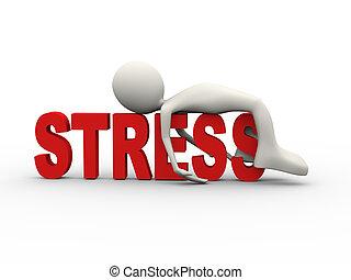 stress, man, woord, het liggen, 3d