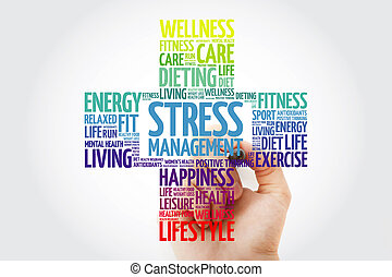 Stress Management cross word cloud collage with marker, health concept background