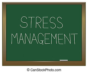 Illustration depicting a green chalkboard with a stress management concept written on it.