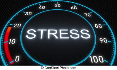 Stress meter or indicator. Conceptual 3D animation -...