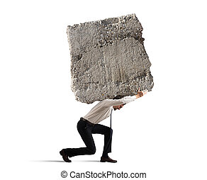 Stress of a businessman - Businessman walking with a heavy...