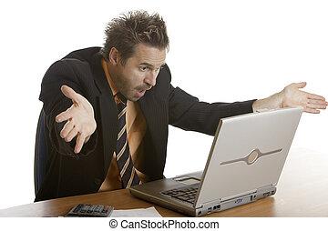 STRESS OF BUSINESSMAN BECAUSE OF COMPUTER CRASH