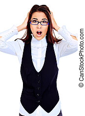 stress - Emotional young woman posing in business suit....