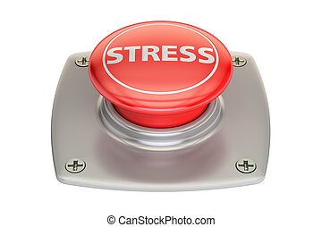Stress Red Button, 3D rendering isolated on white background