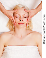 Stress Reduce Head Massage - A beautiful blonde woman...