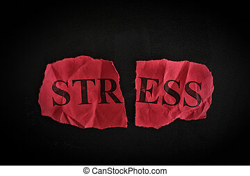 Ripped piece of paper with the word «Stress»
