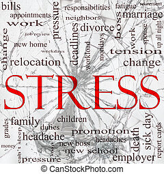 Stress Shattered Glass Word Cloud Concept - A word cloud...