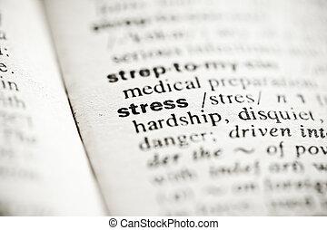 'stress', -, szótár, meghatározás, könyvcímrajz