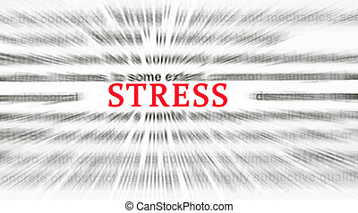 Typed text stress on paper and texts on background