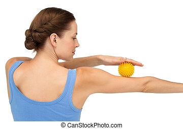stress, vasthouden, aanzicht, jonge, bal, arm, vrouw, achterkant