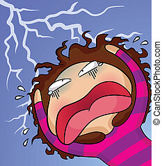 stress - cartoon character in a panic attack