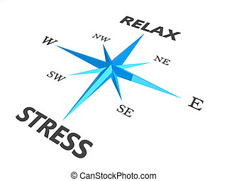 stress, verslappen, beeld, woorden, kompas, conceptueel