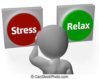 stress, verslappen, knopen, tonen, beklemtoonde, of, ontspannen