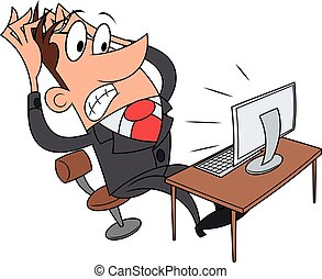 Stress while working at computer - Illustration of the...