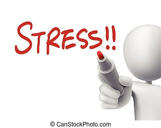 stress word written by 3d man over transparent board