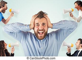 stressa, begrepp, med, skrika, kolleger
