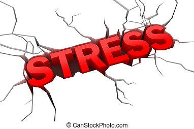 stressa, knäckt, yta