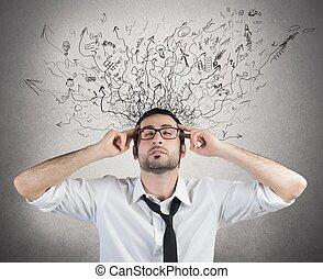 stressa, och, förvirring