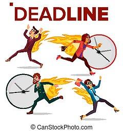 stressa, sätta, affärskontor, röra, ämbete., folk., illustration, overwork., spring, begrepp, tidsgräns, vector., disasters., woman., man, tasks., arbetsbörda