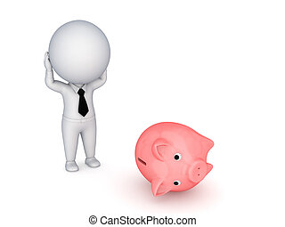 Stressed 3d small person and piggy bank