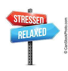 stressed and relaxed signs illustration design over a white ...