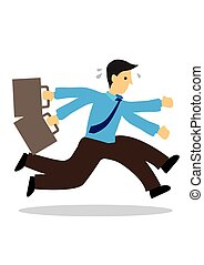 Stressed anxious businessman in a hurry running. Concept of urgency or deadline.