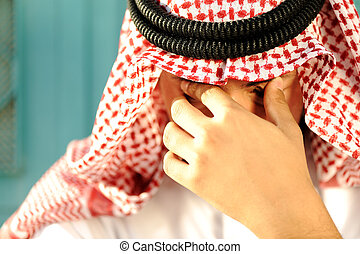 Stressed Arabic man