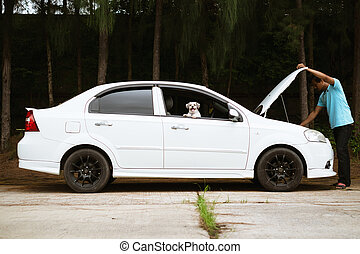 Stressed asian man looking at the engine of broken car with his cutely dog