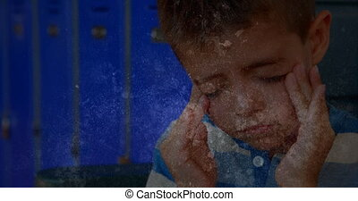 Animation of sad stressed schoolboy in school corridor massaging his temples on distressed flickering background. Education bullying concept digital composite.