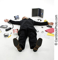Stressed Business Man - Business man laying on floor...