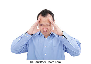 Stressed business man with a headache, isolated over white