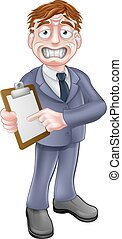 Stressed Business Man with Clipboard